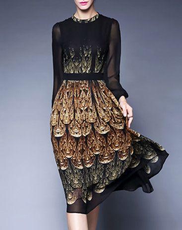 Peacock Print Sheer Sleeve Chiffon Midi Dress