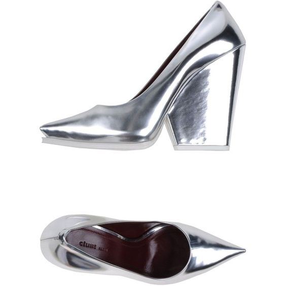 CÉLINE Pump (1.275 RON) ❤ liked on Polyvore featuring shoes, pumps, heels, silver, leather high heel shoes, platform shoes, high heel shoes, leather pumps and real leather shoes