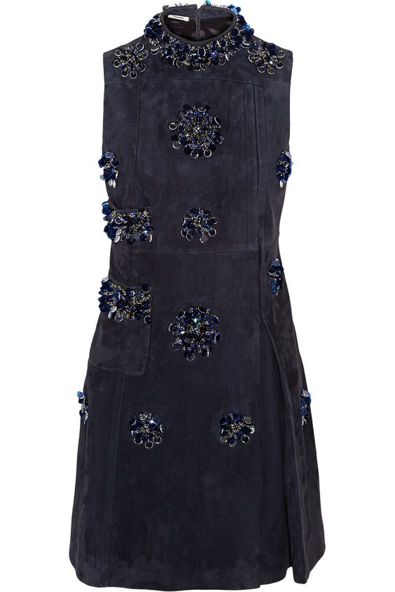 MIU MIU Embellished Suede Mini Dress. #miumiu #cloth #dress