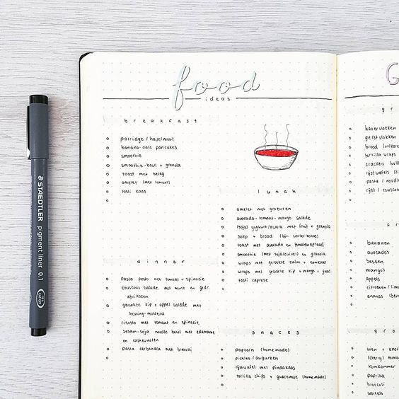 438 vind-ik-leuks, 15 reacties - joos | bullet journal newbie (@bu.joos) op Instagram: 'M A Y // food ideas My love for food is big. Everybody who knows me knows how to make me happy.…'