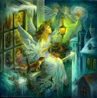 Poetry challenge: Christmas poem. Winter Solstice And when The Lady came winged and gowned crowned with holly's leaf and berry, I knew winter had come with stories of angel fairies dancing golden c...