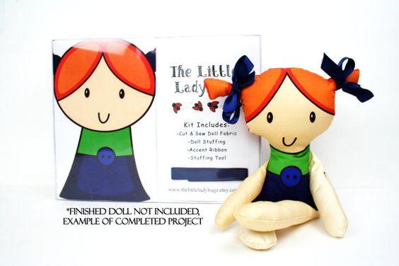 Cut And Sew Doll Gift Set DIY Doll Doll Kit by TheLittleLadybugz