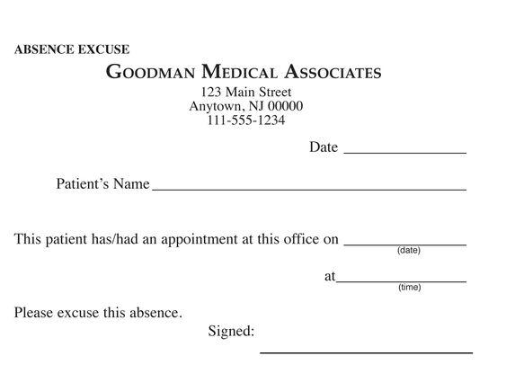Blank Printable Doctor Excuse Form | Keskes Printing - MDs ...