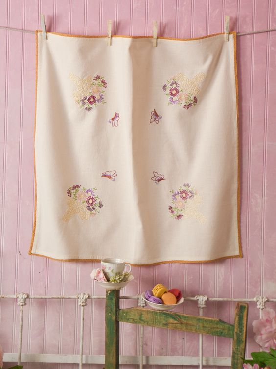 Basket Embroidered Tablecloth