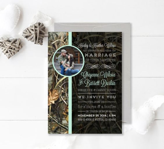 Camouflage Wedding Invitation Camo and by ChynnaHansenDesigns