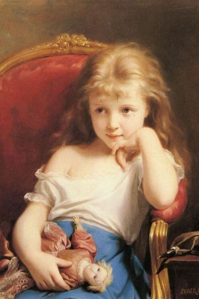 c0ssette:  Fritz Zuber-Buhler (1822–1896), Young Girl Holding a Doll
