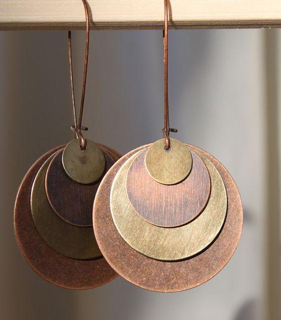 Brass Copper Earrings - Mixed metal Earrings - Disc metal Earrings - Stamping blanks Earrings - Valentines day earrings. $16.00, via Etsy.