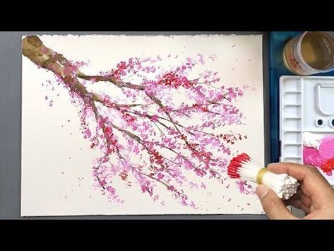 Cherry Blossom Tree Q Tip Painting Technique Acrylic Painting Youtube Cherry Blossom Painting Cherry Blossom Art Blossoms Art