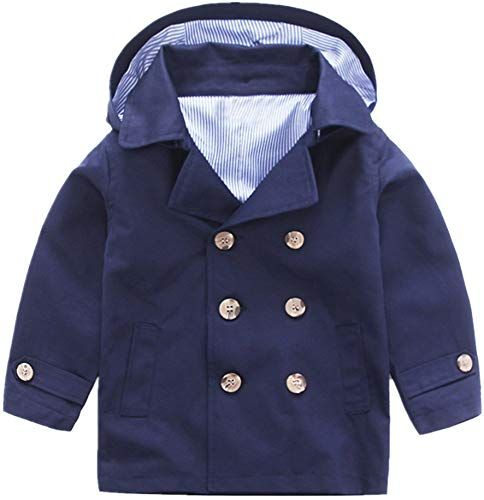 LittleSpring Little Boys Dress Coat Buttons Hooded
