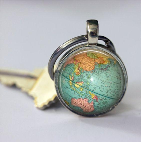 {Globe Keychain World Map Planet Earth Geography Key Chain Key Fob – Map World Globe Keyrings
