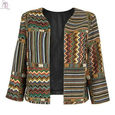 EBay] Yellow Slim Geometric Folk Tribal Striped Jacket Coat