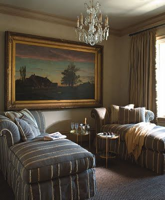 Sisal rug, striped chaises, chandelier, ruffle edged curtains, chandelier, large oil painting - Betty Lou Phillips