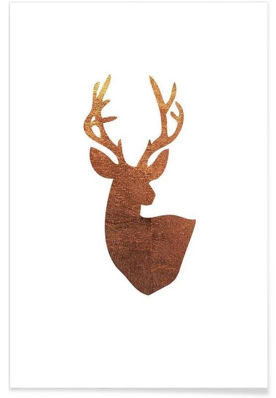 Hirsch Kupfer als Premium Poster