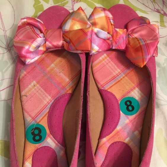 Hot Pink Flats Hot Pink Flats with Plaid Bow!!! Super comfy flats! Shoes Flats & Loafers