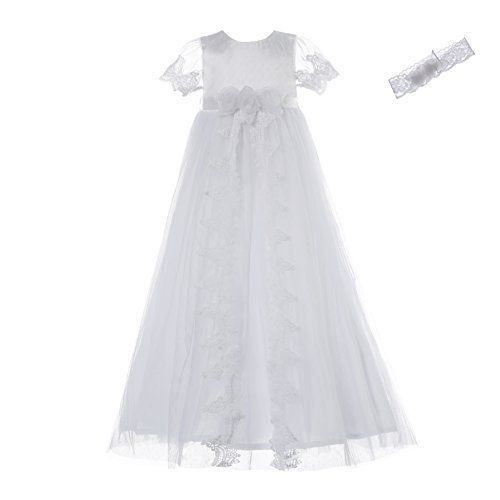 NIMBLE Baby Girl Formal Dress Delicate Embroidery Birthday Cake Skirt with Flower lace Headband