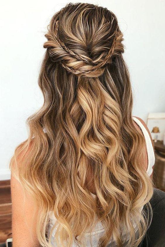 42 Gorgeous Wedding Hairstyles Natural Curls Waterfall Half Up Half Down Wedding Hair Easy Wedding Guest Hairstyles Wedding Guest Hairstyles Long Guest Hair