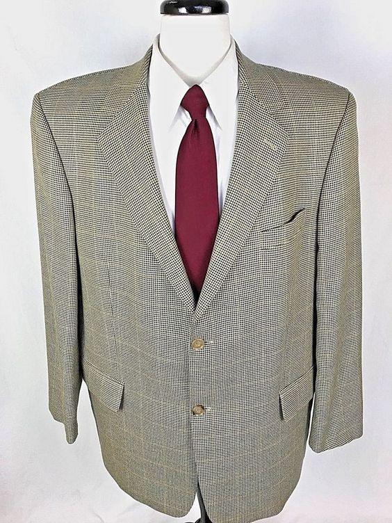 MARIO BARUTTI Blazer Mens 46 Beige WOOL 2 Button Sport Coat Jacket 46R #MarioBarutti #TwoButton