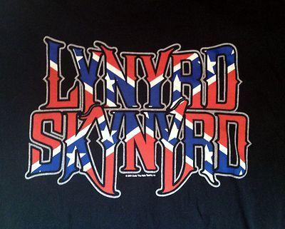 Shirt Lynard Skynard T Mens Graphic Tour Large L Black 2001 Red White Blue Flag