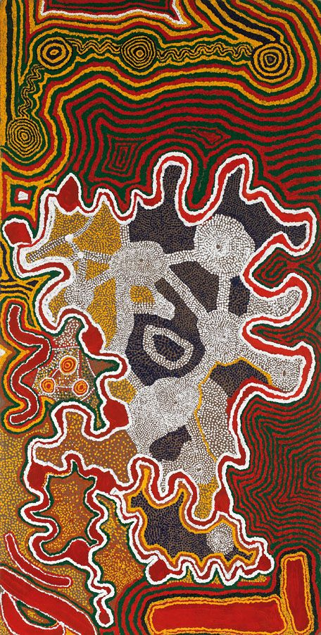 Donkeyman Lee Tjupurrula circa 1925-1993 WILKINKARRA (LAKE MACKAY) (1991) synthetic polymer paint on linen 149 X 75CM PROVENANCE Painted at Wirrimanu, Balgo Hills Warlayirti Artists, Western Australia (stock 162/91) Private Collection, Queensland