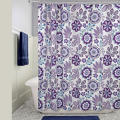 Idesign Luna Floral Shower Curtain In Purple With Images