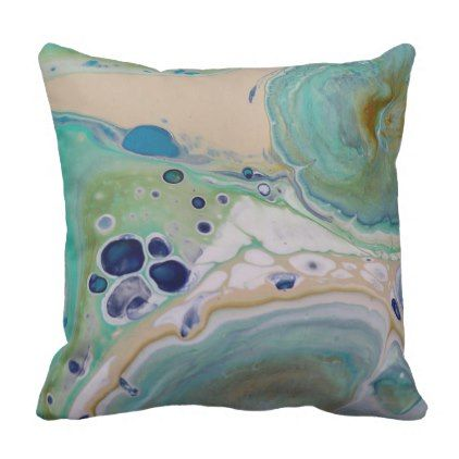 Blue Tan Marble Stone Fluid Art Colorful Unique Throw Pillow