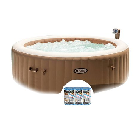 Spa Gonflable Intex Purespa Bulles 4 Personnes Rond 6 Cartouches Tub Outdoor Decor Outdoor