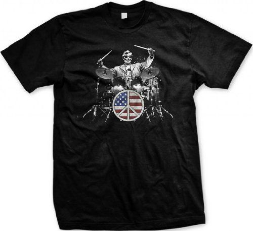 Rock and Roll 101 Mens T-shirt Lincoln Playing Drum Set Flag Peace Sign Tee Shirt X-Large Black