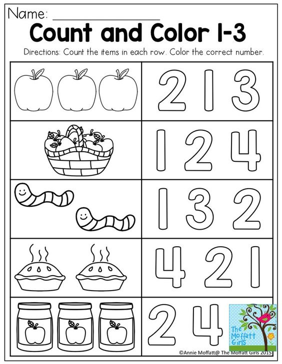 Count and Color Basic skills for preschool Apples – Math Basic Skills Worksheets