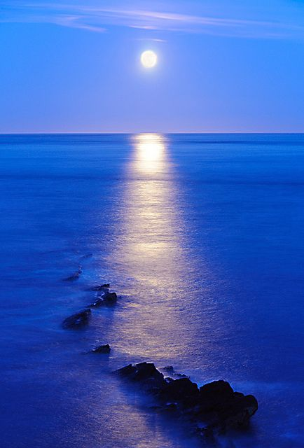 Moonrise over Peveril Point, a promontory on the east facing coast of the isle of Purbeck, in Dorset, England and is part of the town of Swanage (UK):
