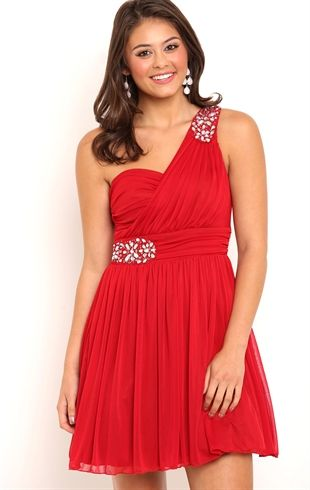 Short One Shoulder Homecoming Dress with Illusion Back and Stones ...