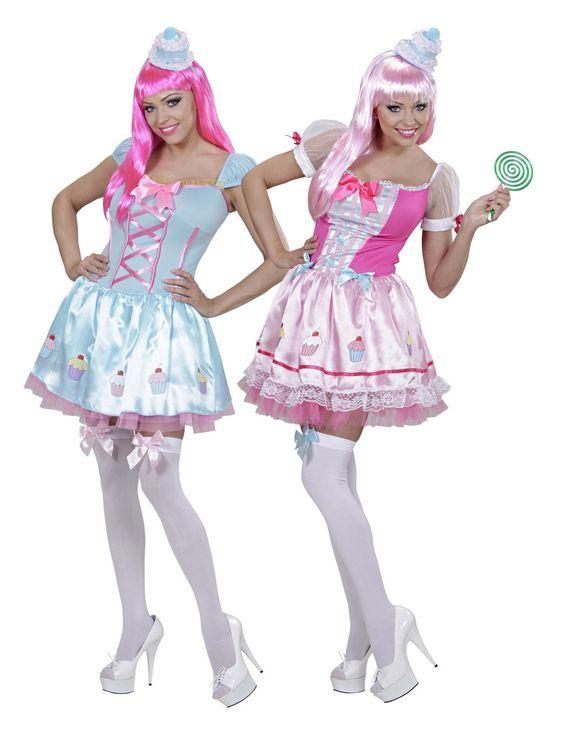 Déguisement de couple cupcake femme : Ce lot se compose de 2 costumes de cupcake pour femme. Ceux ci se composent d'une robe et d'un serre-tête:La robe, très courte, possède des manches courtes bouffantes.Le...