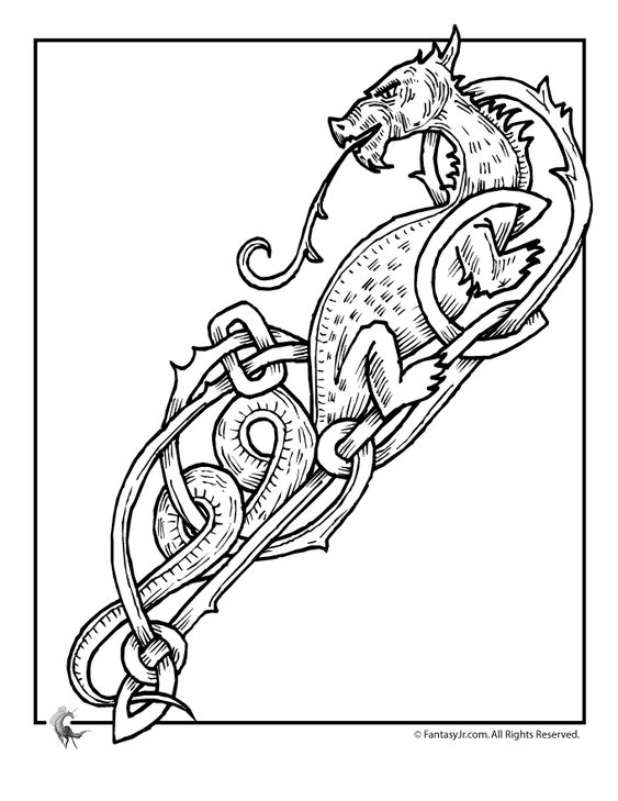 Celtic Dragon Coloring Pages  Dragons and mid evil  Pinterest
