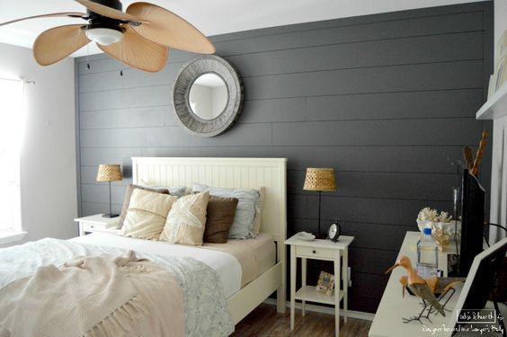 ... cutting fee. Planked wall is painted Sherwin Williams, Peppercorn