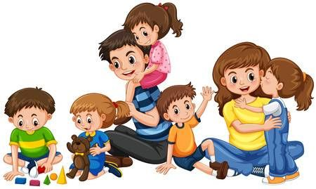 Parents with five children playing illustration in 2020 | Baby painting,  Family cartoon, Kids clipart
