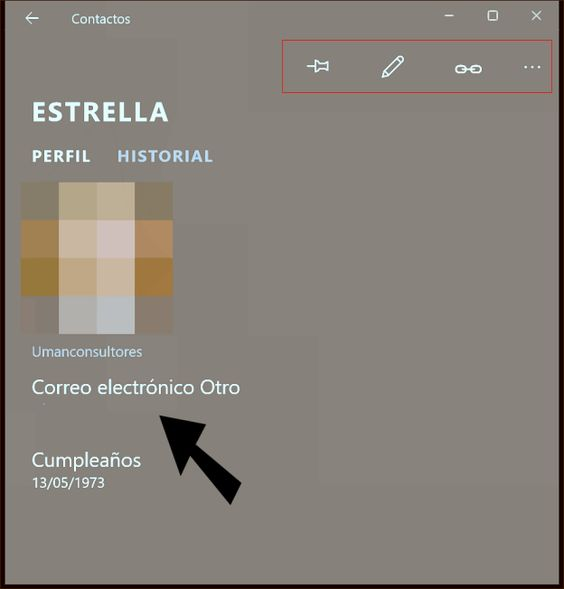 Contactos de Windows 10