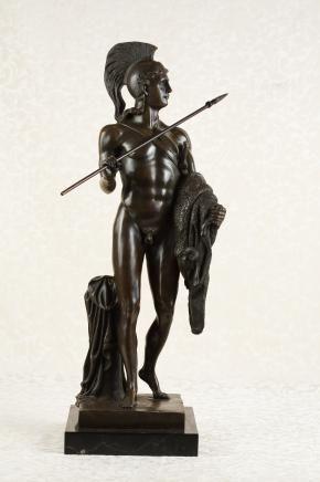Bronze Nude Male Greek Warrior Statue Figurine Homer