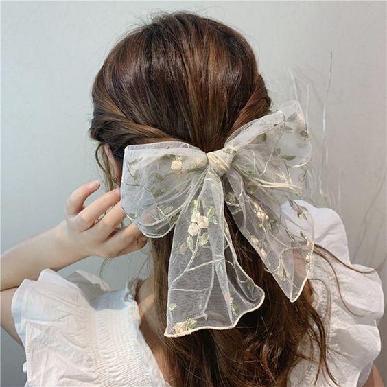 white lace hair ribbon