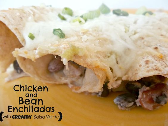 Chicken and Bean Enchiladas with Creamy Salsa Verde from Six Sisters' Stuff
