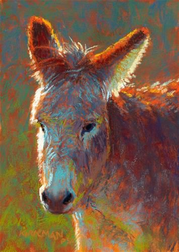 """""""Don Keely"""" (pastel, 7x5 inches) click here to bid: http://www.dailypaintworks.com/buy/auction/583577 I was researching donkeys today, and found some interesting facts. Did you know the donkey's favorite pastime is rolling? This one's hair do looks like he just got up from a good romp! See some progress shots on my blog: https://ritakirkman.blogspot.com/2016/07/don-keely.html"""