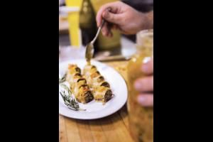 Tourtière strudel with mustard pickle from Jamie Kennedy Event Catering in Toronto