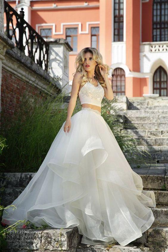 White Wedding Dresses,2 Pieces Wedding Gown,Ruffled Wedding Gowns,Tulle Bridal Dress,Two Piece Weddi on Luulla