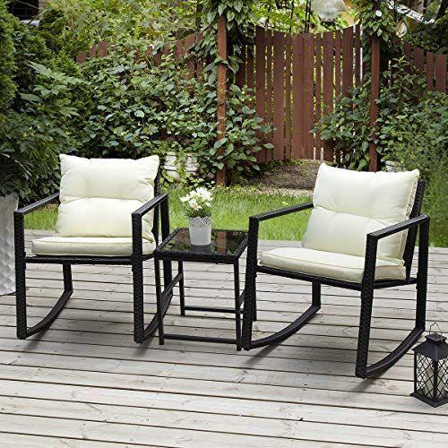 Pamapic Outdoor 3 Piece Porch Furniture Rocking Bistro Set Wicker