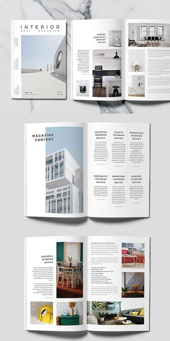 Minimal Interior Magazine #brochure #template #indesign #magazine #lookbook #portfolio #catalog #interiordesign #lifestyle #photography