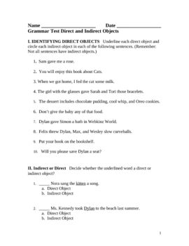Printables Direct And Indirect Object Worksheets direct and indirect objects worksheet davezan this is a four page grammar test on objects