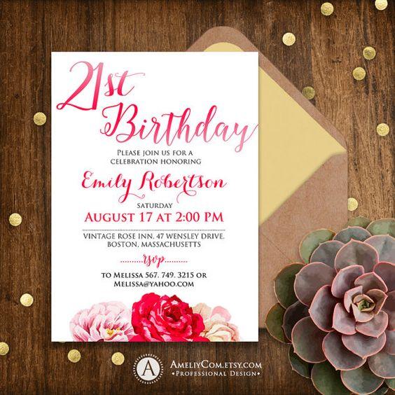 21 Birthday invitation adult birthday invitation by AmeliyInvite