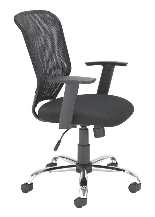 Office Chair Mesh Back With A Cushioned Fabric Seat And Fixed Arms
