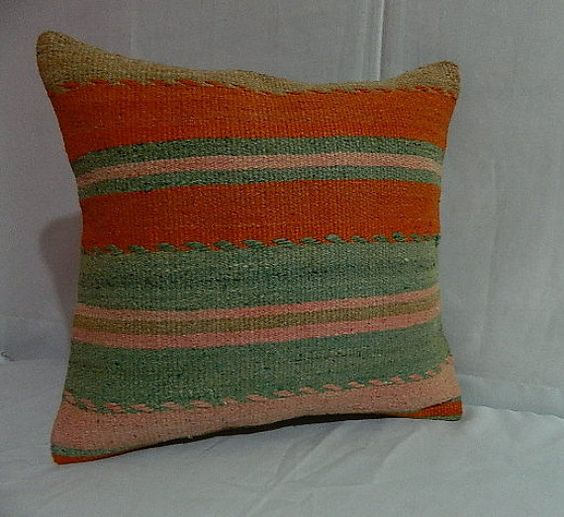 Turquoise Orange Pink pillow16 x 16 inch 40 x 40 cm by KAIVSHAND
