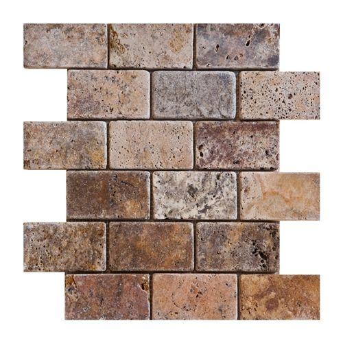 Backsplash Option Scabos Tumbled Finish Brick Pattern Mesh