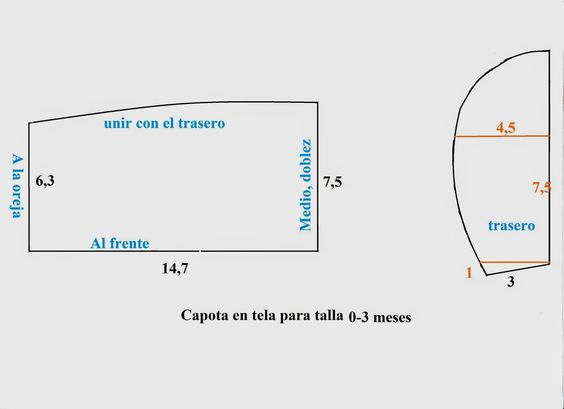 Sewing set: PATRONES 6: CAPOTA DE BEBÉ