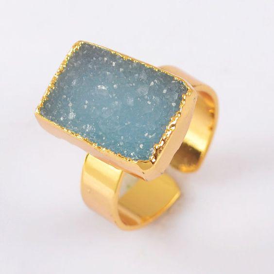 Aqua Blue Geode Druzy 18Kt Gold Ring / Free Shipping by Nuesi